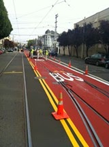 San Francisco Transit Lanes Go Red To Keep Vehicle Drivers Out